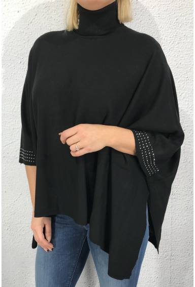 Cape knitted polo bling Black