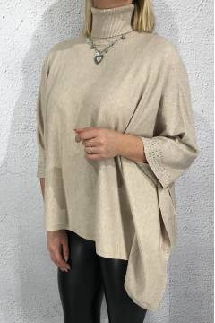 Cape knitted polo bling Taupe