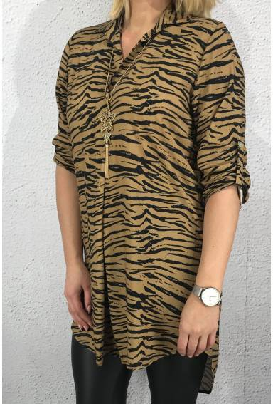 6266  Long tunic shirt zebra Camel
