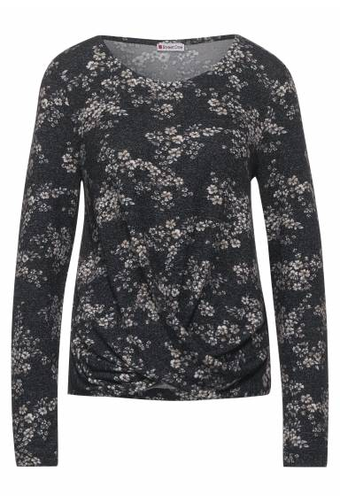 Sally Sweater printed w.twisted knot Black