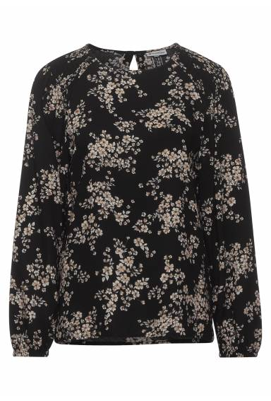 Blouse w. smock details Black/Flower