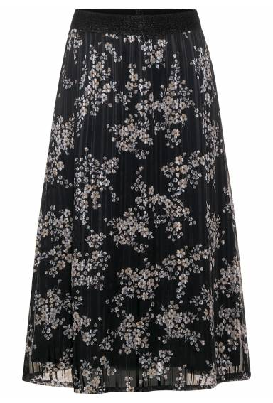 Skirt Julie chiffong  Black/ Flower