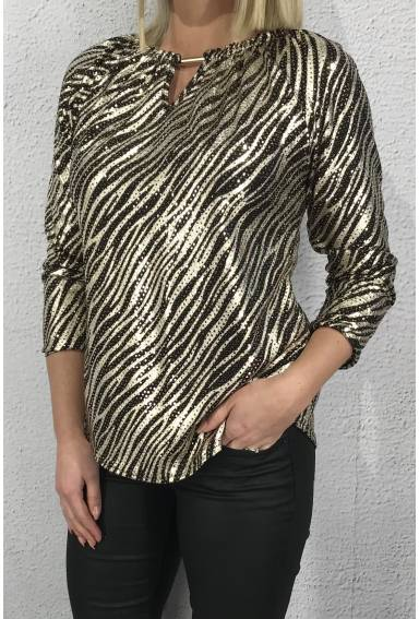 Top/Blouse buckle Zebra/Gold