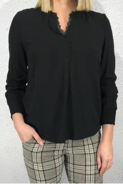 Blouse v-neck with lace detail Black