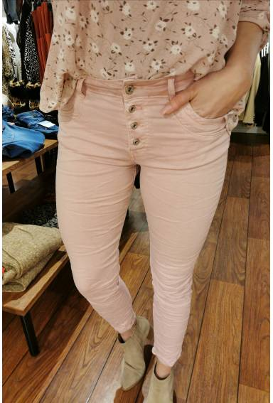 Emma jeans buttons Pink
