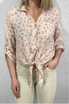 Vivienne Blouse knot small flowered Pink