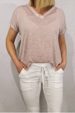Cilla Top enzyme washed Dusty Rose