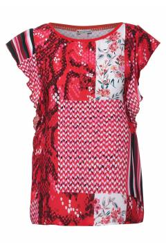 Lottie Top volant sleeve Spice Red