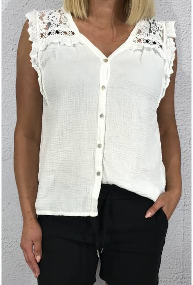 Rosie Tanktop lace waffle White