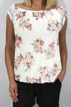 Mary Top roseprint Offwhite