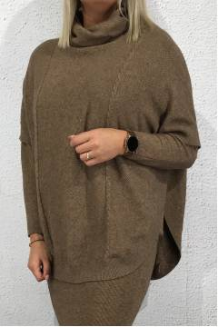 Tina Poncho knitted Brown
