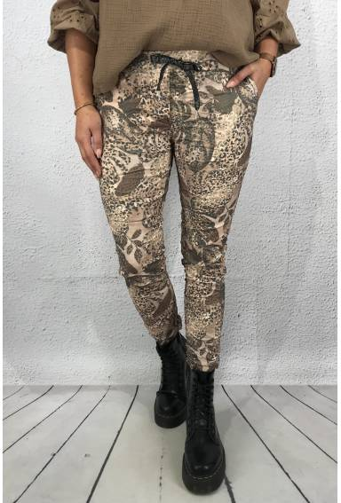 Lilly Pant leafprint Beige/Brown