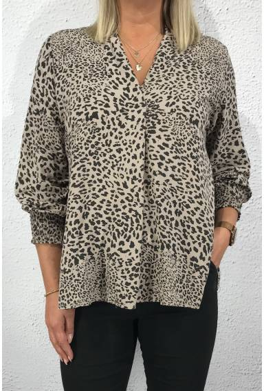 Marilyn Blouse Leoprint Taupe