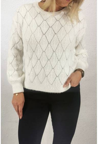 1588 Sweater knitted hole pattern Cream