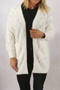 2588 Cardigan knitted hole pattern Cream