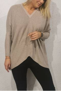 4888 Sweater knitted v-neck Mocca