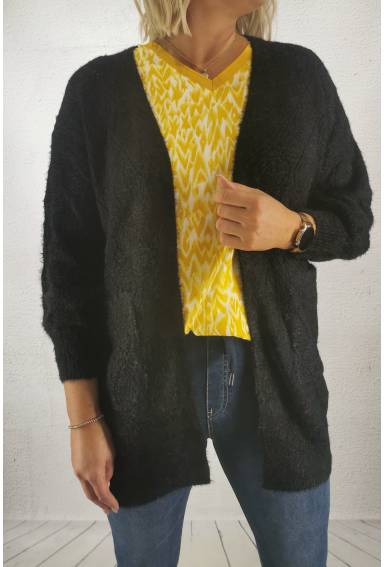 2588 Cardigan knitted hole pattern Black