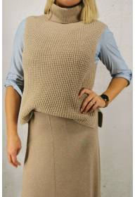 Candie Poncho knitted Taupe