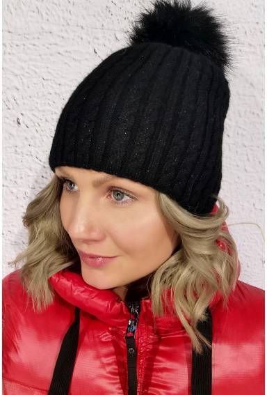 Hat cable knitting Black