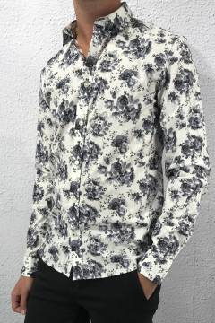 Greyson Shirt Dark Grey Flower