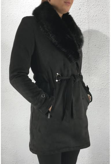 S 8561 Coat fake fur Black
